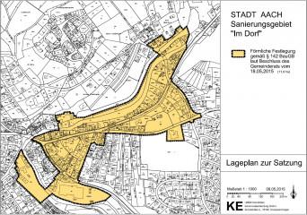 """Plan des Sanierungsgebiets """"Im Dorf"""""""