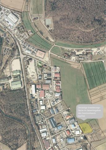 Planausschnitt des Gewerbegebiets Aachtal mit aktueller Erweiterungsfläche